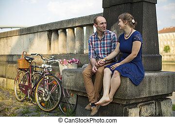 bicycles, para, posiedzenie