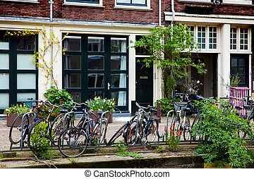 Bicycles parking in Amsterdam