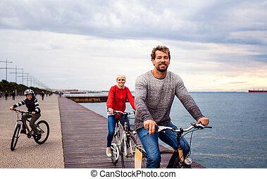 bicycles, plage., jeune, dehors, équitation, famille