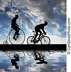 bicycles, rowerzyści, sylwetka