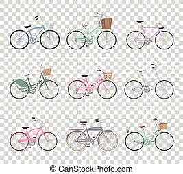 bicycles, set, retro, achtergrond, transparant