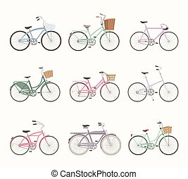 bicycles, set, retro, achtergrond, witte