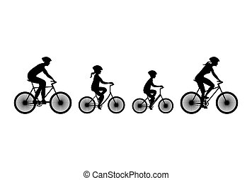 bicycles,  silhouette, famille