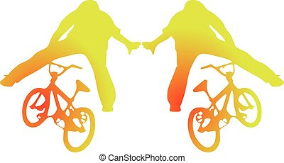 bicycles, silhouettes, BMX
