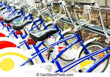 bicycles, strada, norvegia, parcheggiato, pubblico