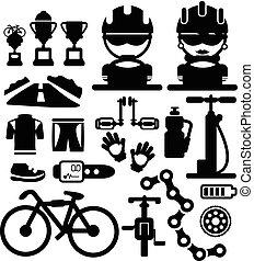bicycles, vector, iconen