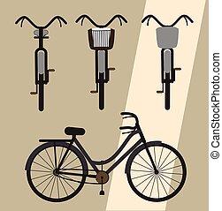 bicycles, vector, ontwerpen, classieke
