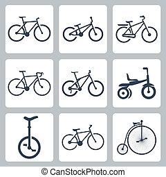 bicycles, vetorial, jogo, isolado, ícones
