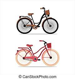 Bicycles women vintage vector set