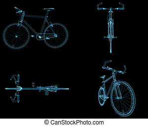 Bicycles x-ray blue transparent isolated on black