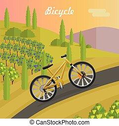 bicyclette course, jaune, asphalte, track.