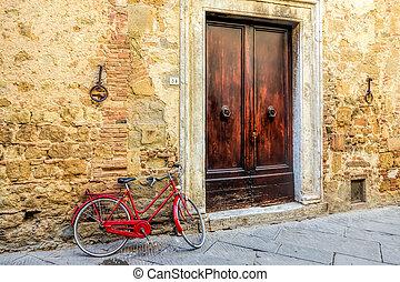 bicyclette rouge, penchement mur, dans, pienza