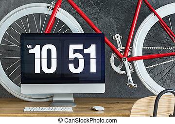 bicyclette rouge, sur, bureau bois