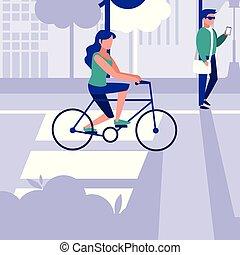 bicyclette voyageant, femme, conception