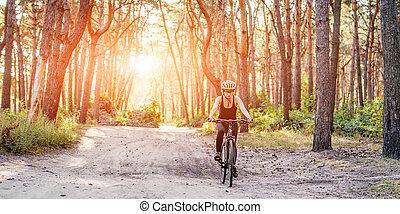bicyclette voyageant, femme, forêt