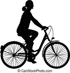 bicyclette voyageant, femme, silhouette, jeune