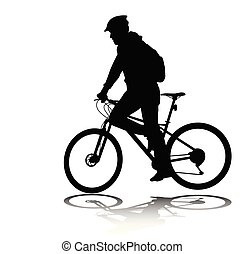 bicyclette voyageant, silhouette, homme