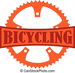 Bicycling Badge - Orange Bicycling badge with a bike...