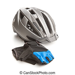 Bicycling helmet and gloves.