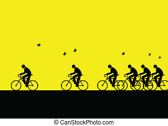 Iconic illustration of people go to work with bicycle