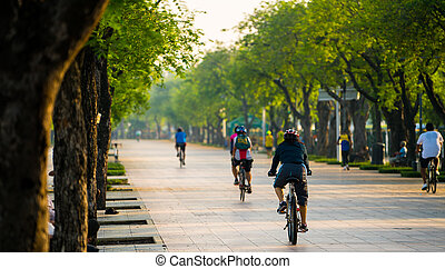Bicycling in public park