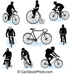 Bicycling silhouettes - A collection of 9 different...