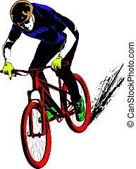 bicyclist - cyclist - vector illustration