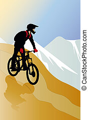 bicyclist - vector illustration of bicyclist on the mountain...