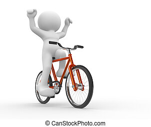 Bicyclist - 3d people - human character - running on...