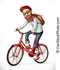 Bicyclist. Man on a bicycle, 3d vector icon
