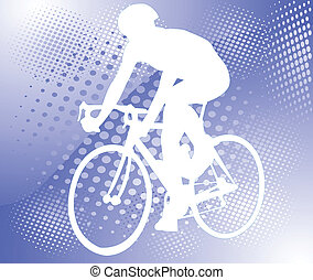 bicyclist on abstract background