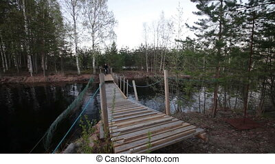 Bicyclist Rides over the Bridge in the Forest