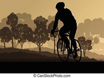 Bicyclist riding bicycle group marathon background...