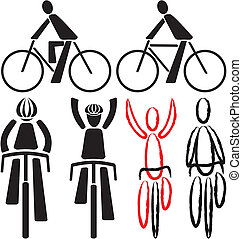 bicyclist - signs and silhouettes - silhouettes of people...