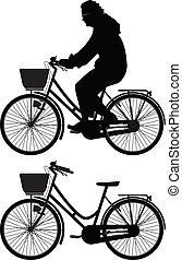 bicyclist silhouette vector - bicyclist woman silhouette...