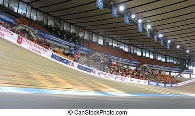 Bicyclists compete in Sports complex on Youthful superiority of world on cycling