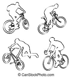 bicyclists outline