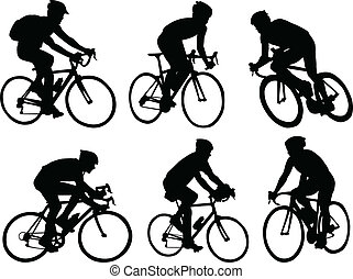 bicyclists, silhouettes