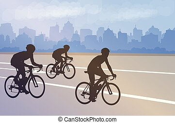 bicyclists silhouettes on the abstract city background
