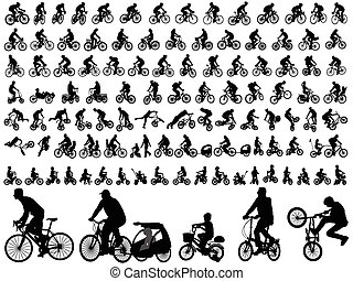 bicyclists, silhouettes, verzameling