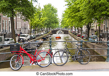 bicyles, in, amsterdam