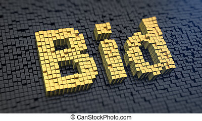 Bid cubics - Word 'Bid' of the yellow square pixels on a ...