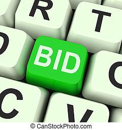 Bid Key Shows Online Auction Or Bidding - Bid Key Showing...