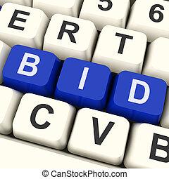Bid Keys Show Online Bidding Or Auction - Bid Keys Showing...