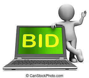 Bid Laptop And Character Showing Bidder Bidding Or Auctions...
