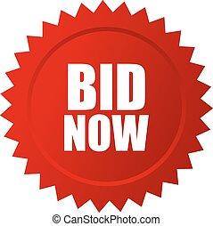 Bid now auction star icon vector illustration