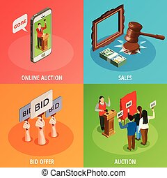 Bid Offers Design Concept - Auction isometric 2x2 design...