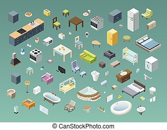 Bid set of vector isometric furniture and electric equipment