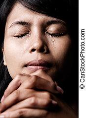 biddend, het schreeuwen