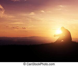 biddend, op, zonopkomst